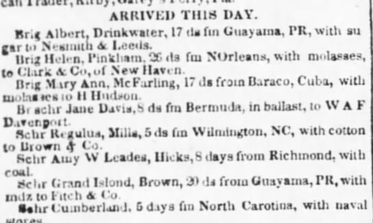 Guayama trade April 1839 - ARRIVED THIS DAY. r.g Albert. Drinkwsier, 17 da...