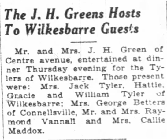 j.h. green hosts guests - ; The J. H. Greens Hosts To Wilkesbarre Guesis...