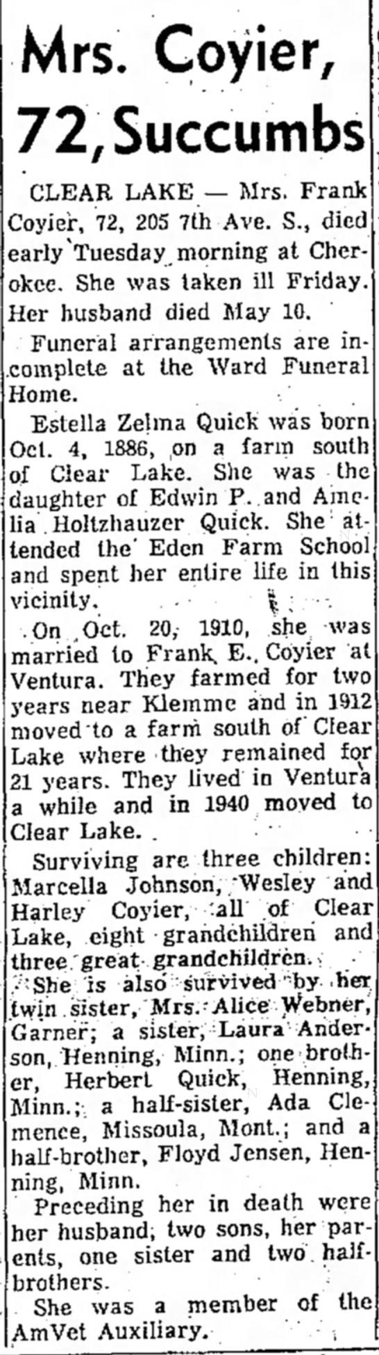 Estella Velma Quikc Coyier Obituary