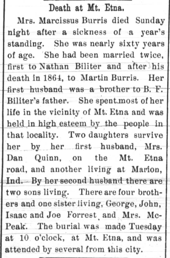 Huntington Weekly Herald, 9 Jun 1899, page 2 - Death at Mt. Etna. Mrs. Marcissus Burris died...