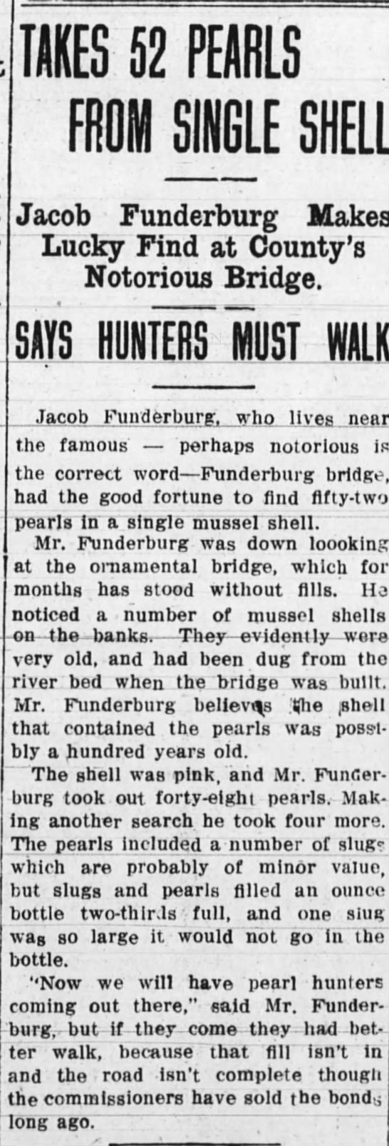 Jacob Funderburg finds pearls 31 july 1914 - TAKES 52 PEARLS FROM SINGLE SHELL Jacob...