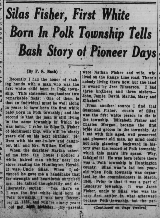 - : Y of L Silas Fisher, First White born In Polk...