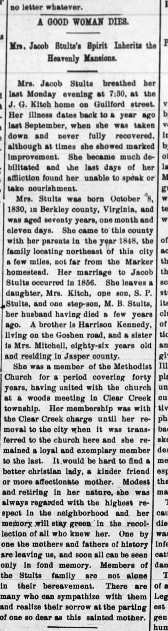 Harrison Kennedy sister dies 23 Nov 1900 - - no letter whatever. A GOOD WOMAN DIE8, Vm....