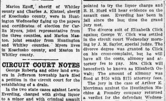 lewis everding 12 nov 1914 - Marion Egoff, sheriff of Whitley county and...