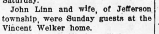 24 nov 1914 welker - John Linn and wife, of Jefferson township, were...