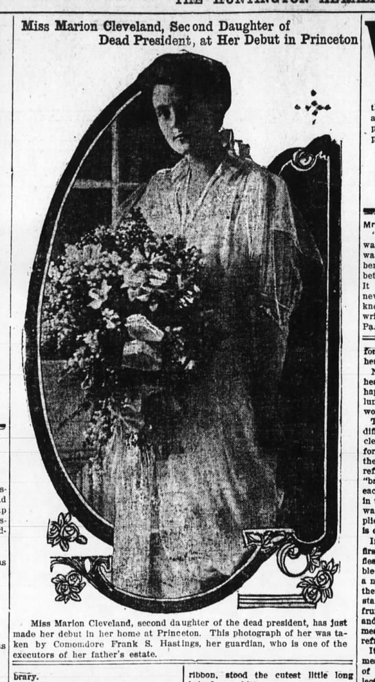 Marion Cleveland-Debut-Huntington Herald, Indiana-p.6-8 Dec 1914 - Miss Marion Cleveland. See ond Daughter of Dead...