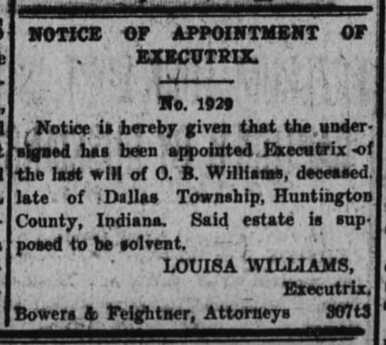 - NOTICE OF APPOINTMENT OF . EXECTTRIX 'V r ; , ;...