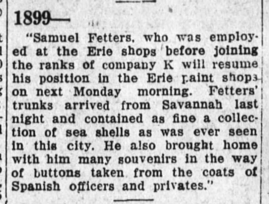 "Fetters 9 May 1929 - 1899 .... ""Samuel Fetters, who was employed at..."