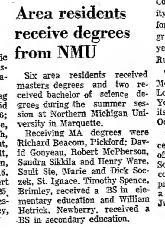 the evening news_sault ste. marie, mi_14Aug1973_pg7 - Area residents receive degrees from NMU Six...