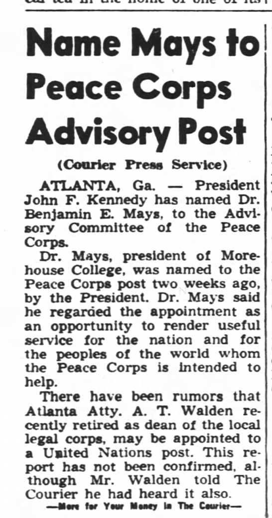 PC AB - Name Mays to Peace Corps Advisory Post (Courier...