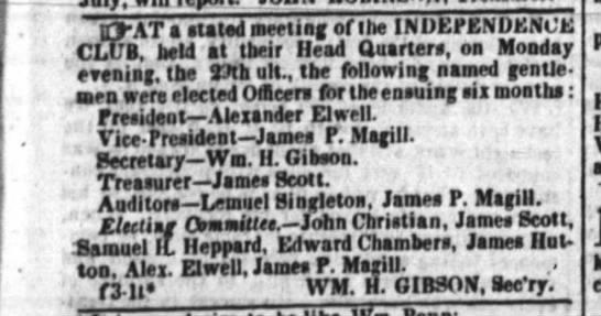 Lemuel 1838 - CLUB, held at their Head Quarters, on Monday '...