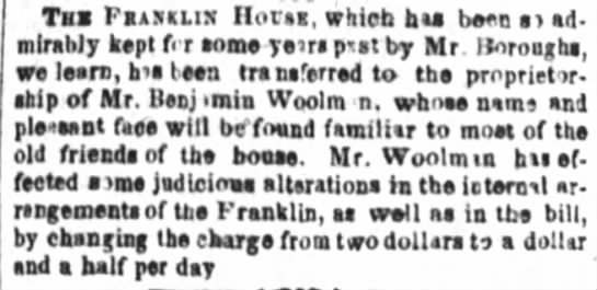 Woolman to care for Franklin Home - Taa PiiiiiLiil Ilofti, which hia been ad...