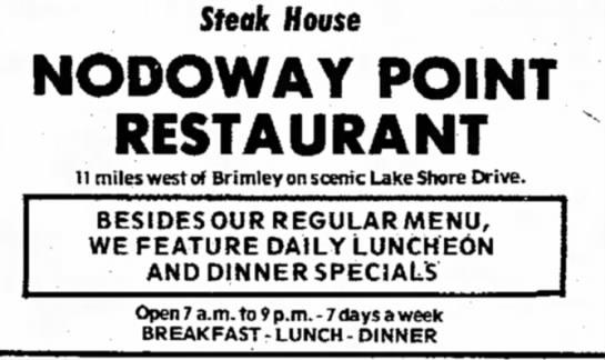 1973rr - Steak House NODOWAY POINT RESTAURANT 11 miles...