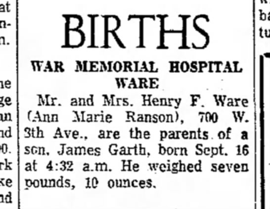 the evening news sault ste. marie, mi_16Sept1969_pg6 - BIRTHS WAR MEMORIAL HOSPITAL WARE Mr. and Mrs....