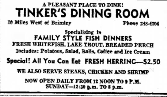 - A PLEASANT PLACE TO DINE! TINKER'S DINING ROOM...