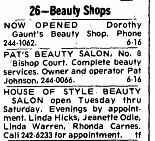 1975  - 26-Beauty Shops NOW OPENED Dorothy Gaunt's...