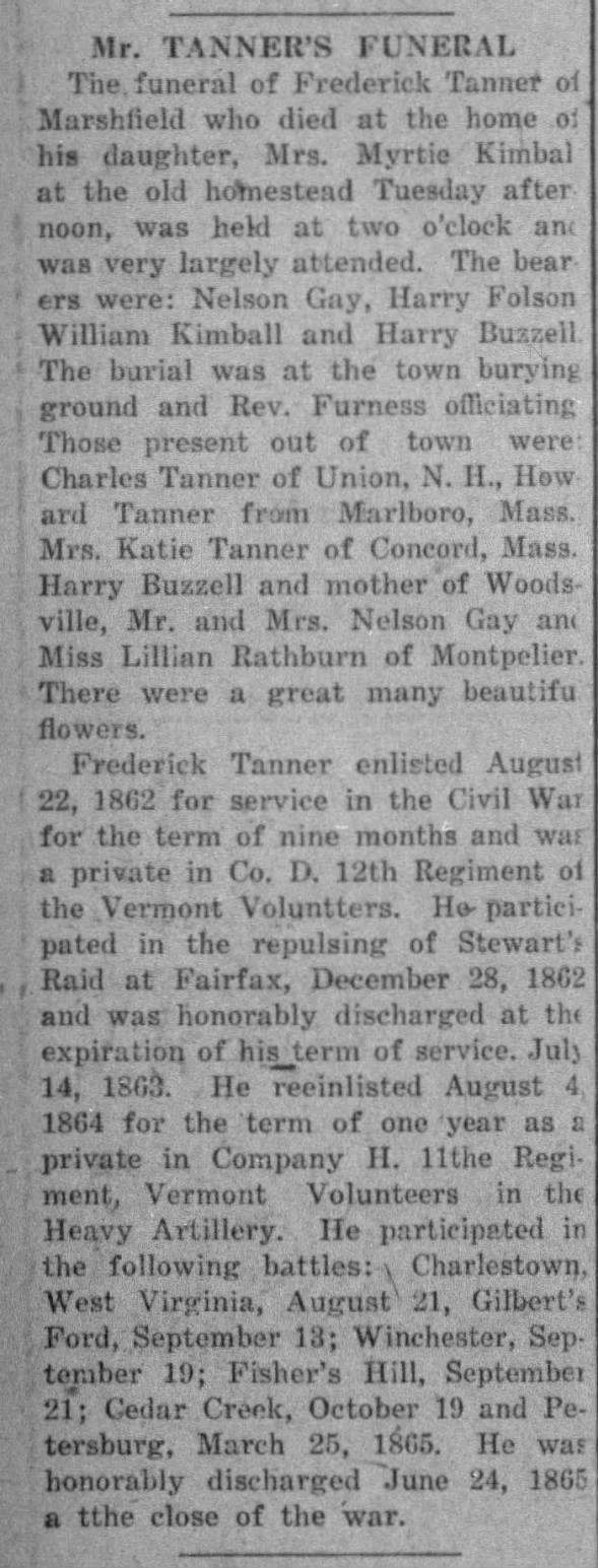 Obituary for Frederick Tanner