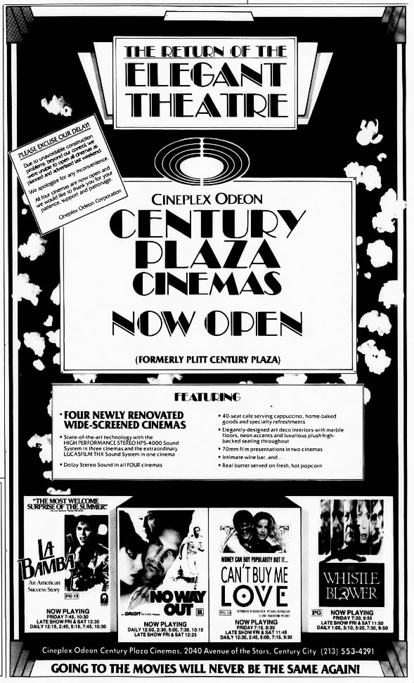 Century Plaza Cinemas reopening