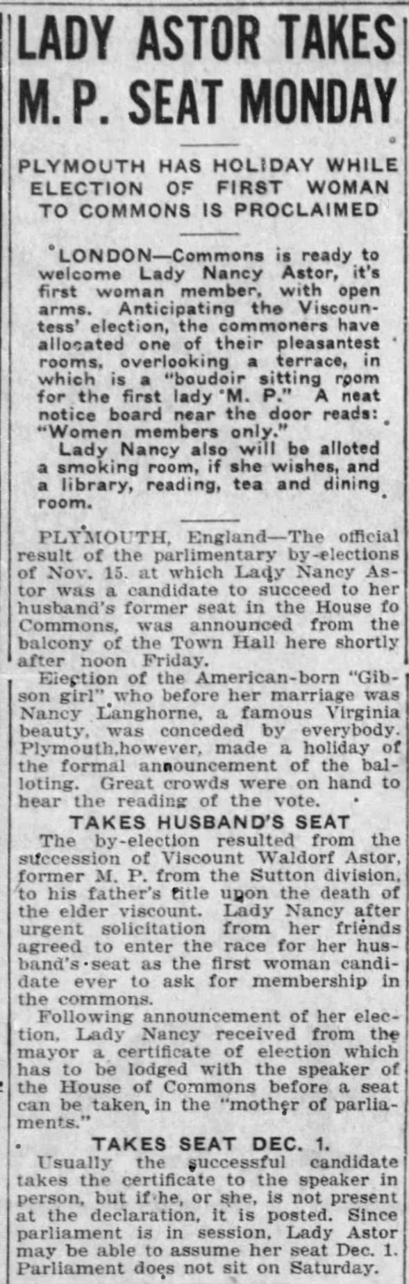 Lady Astor becomes first woman elected to Parliament