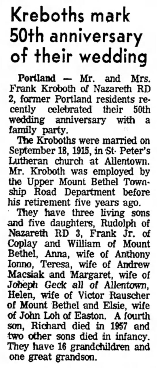 Frank Kroboth of Nazareth - Kreboths mark 50th adversary of their wedding...