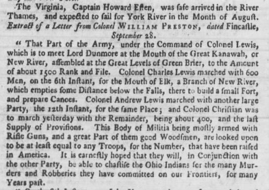 Rifle Lord Dunmore's War 1774 - The Virginia, Captain Howard Eften, was fafe...