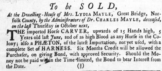 lydia and charles mayle in norfolk - To be SOL D, At the Dwelling - Houfe of Mrs....