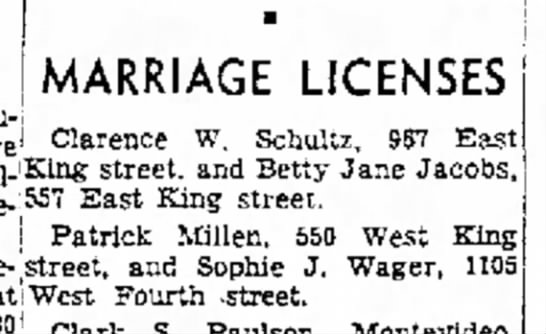 - MARRIAGE LICENSES Clarence W. Schultz, 967 East...