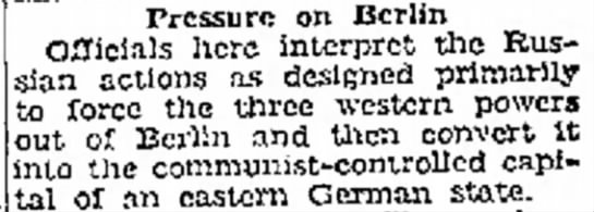 Blockade Motivations - of government Pressure on Berlin Officials here...