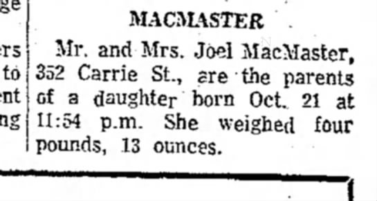 the evening news_sault ste. marie mi_22Oct1969_pg10 - to MACMASTER . Mr. and Mrs. Joel MacMaster, 352...