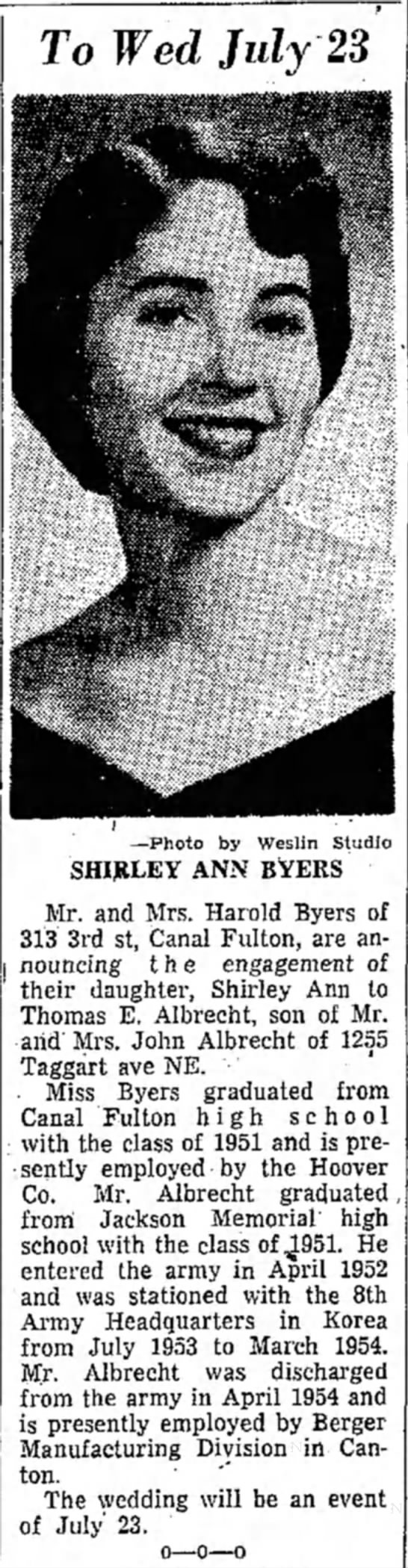 Shirley Ann Byers wedding announcement in the 1 March, 1955 Evening Independent on page 7 - To Wed July 23 —Photo by Weslin Studio SHIRLEY...