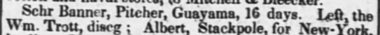 Guayama trade March 1831 - Schr Banner, Pitcher, Guayama, 16 days. Left,...