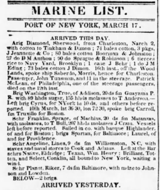 Guayama trade March1838 - MAItlNti LIST. PORT OF NEW YORK, MARCH 17....
