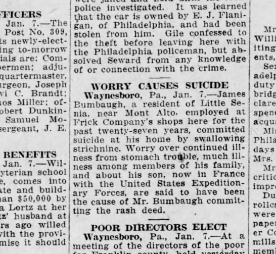 1919 January 7 Harrisburg Telegraph - OFFICERS Jan. 7. - The Post No. 309, newly -...