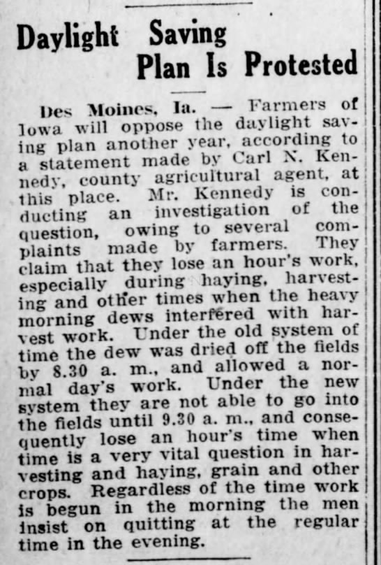 Farmers in Iowa oppose daylight saving time - Daylight Saving Plan Is Protested Des Moines,...