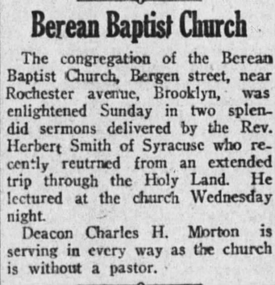 Rev. Herbert Smith recently returned from visiting Holy Lands - Berean Baptist Church The congregation of the...