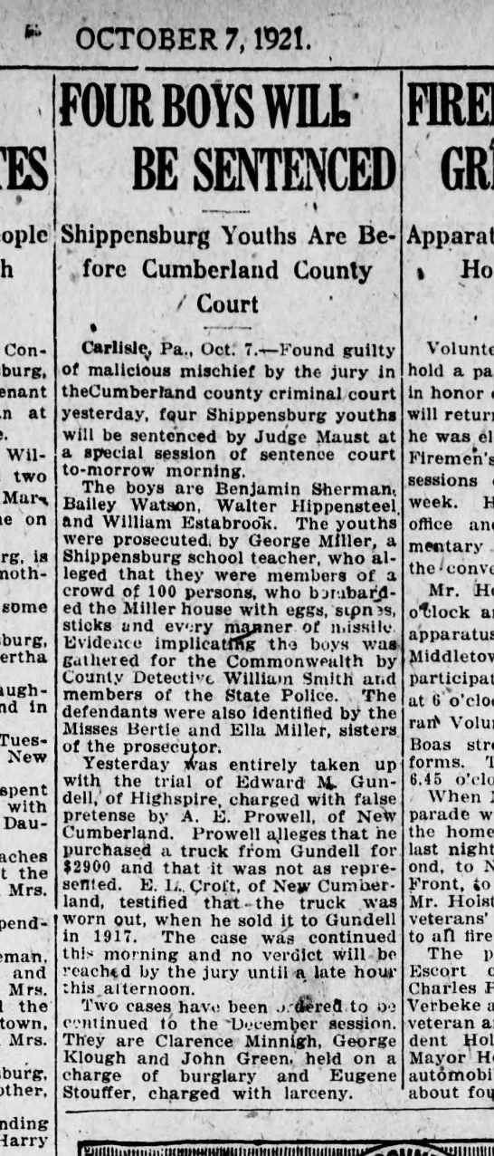 1921 October 7 Harrisburg Telegraph - OCTOBER 7, 1921. Con - at William, two Mar -...
