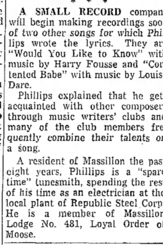 The Evening Independent (Massillon, Ohio) 21 March 1955 Harry Fousse - A SMALL RECORD companj will begin making...