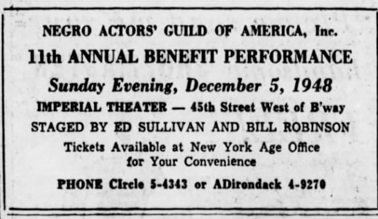 NAG 11th Annual Benefit - NEGRO ACTORS' GUILD OF AMERICA, Inc. 11th...
