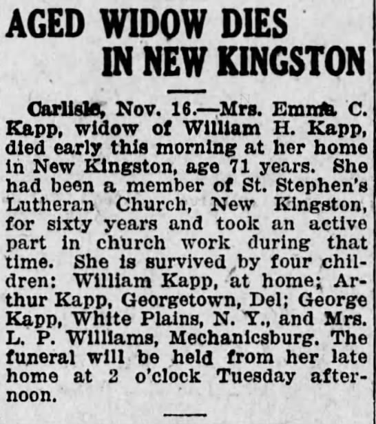 obituary of emma eckels kapp - AGED WIDOW DIES IN NEW KINGSTON Carlisle, Nov....