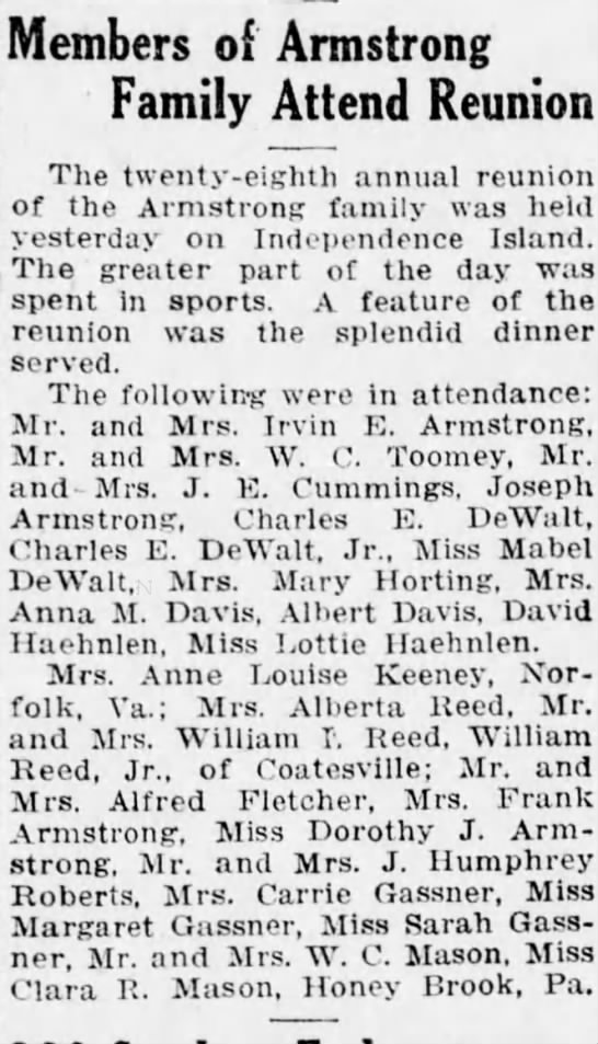 Armstrong Family Reunion - Charles and Mabel Dewalt attended 8 30 19 - Members of Armstrong Family Attend Reunion The...
