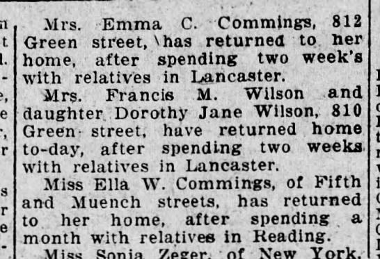 Emma Commings, Mary Wilson, Grammie Stoyer - Mrs. Emma C. Commings, 812 Green stfeet, Vhas...