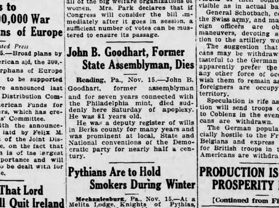1920 November 15 Hbg Tel. - to 300,000 War of Europe Press Broad plans by...