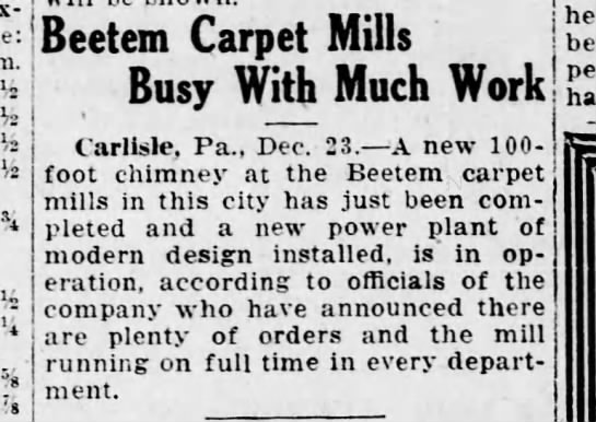 Beteem mills busy 1920 - i I Beetem Carpet Mills Busy With Much Work...