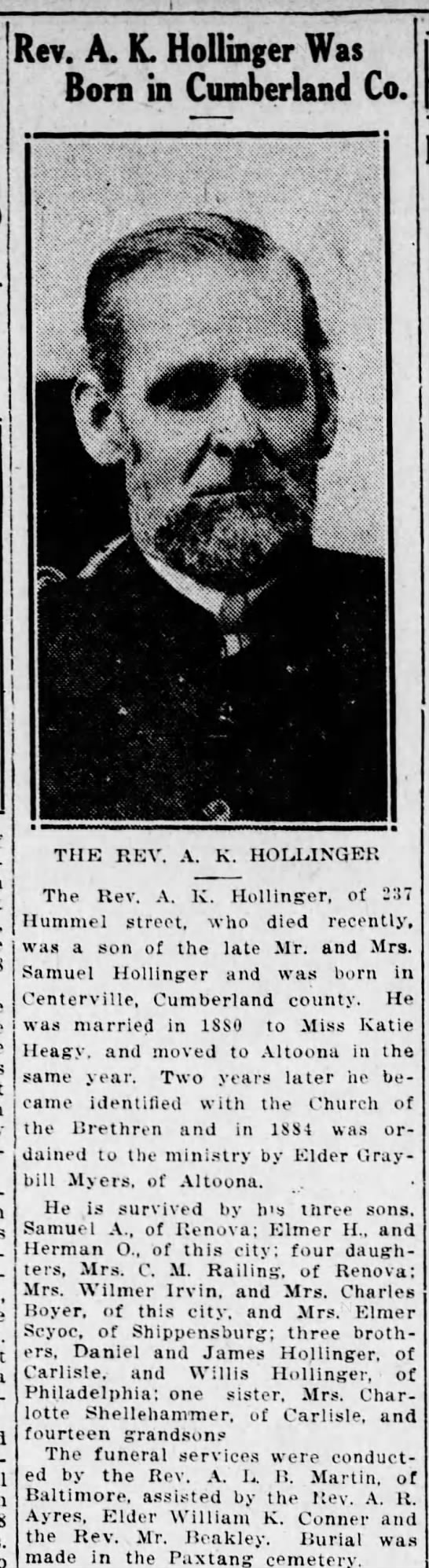 - Rev. A. K. Hollinger Was Born in Cumberland Co....