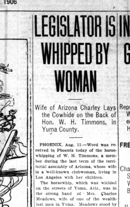 - 1906 I IS s mm Wife of Arizona Charley Lays the...