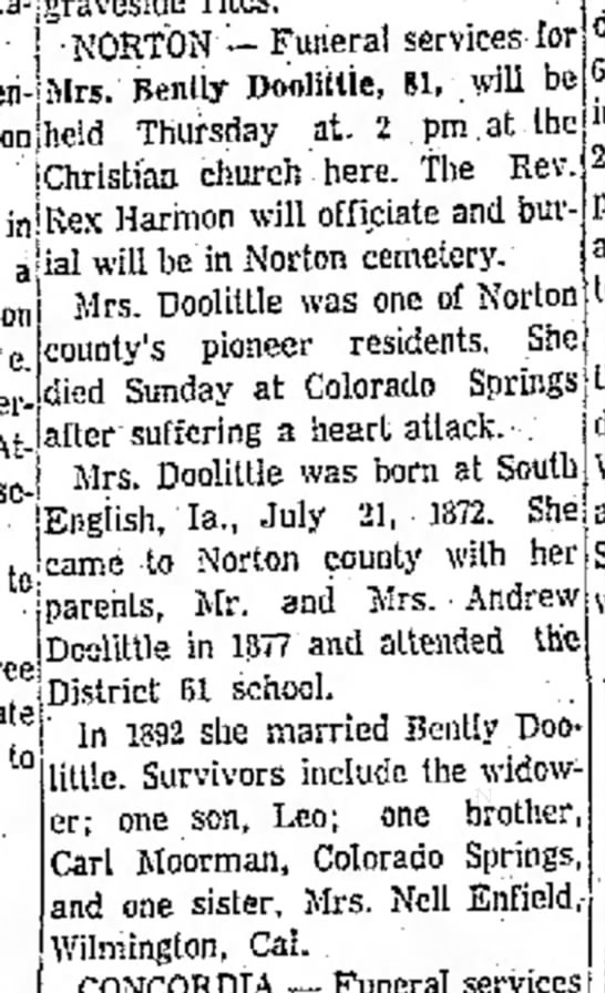 Minnie Doolittle Obit with errors