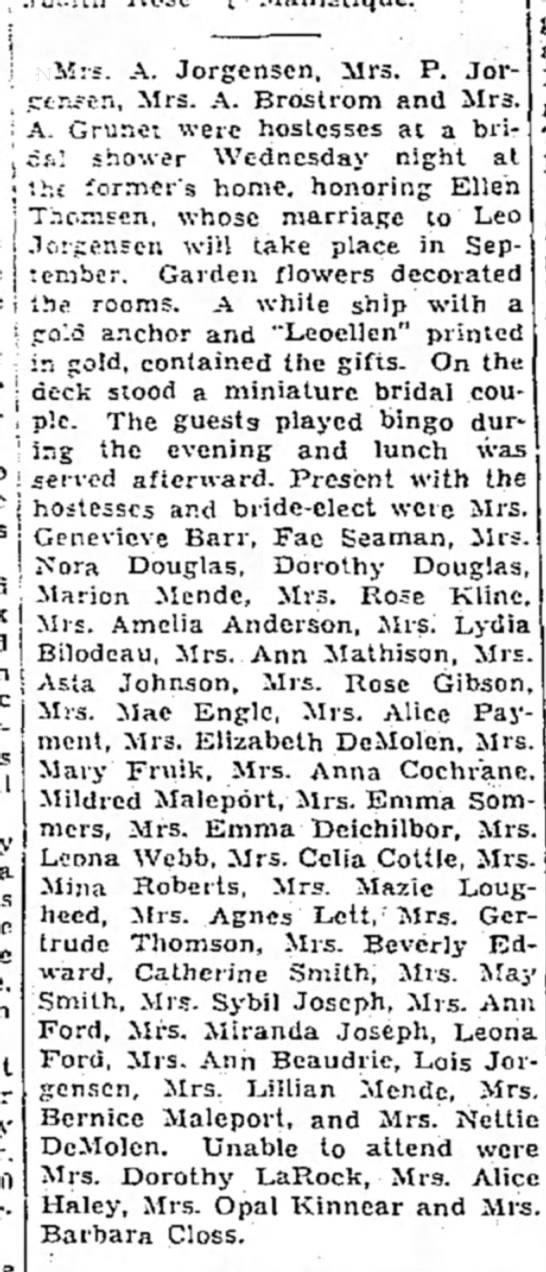 Ladies day - I Mrs. A. Jorgensen, Mrs. P. Jor- ctr;5cn ,...