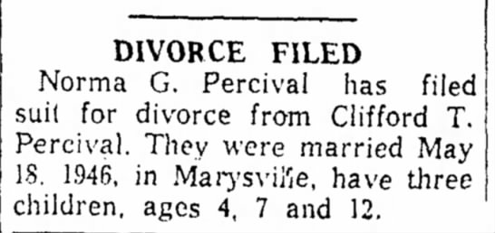 Tommy Percival Divorce Filing 27 Apr 1960 - DIVORCE FILED Norma G. Percival has filed suil...