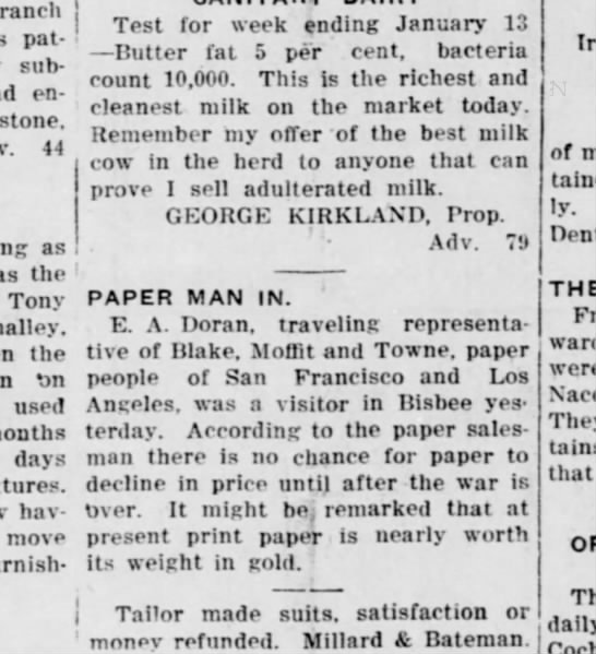 visiting bisbee, paper prices - ranch patented subject entries. 44 as the Tony...
