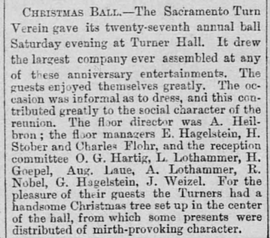 Charles Flohr, Christmas Ball, 27 Dec 1880, The Record-Union, Sacramento, CA - Christmas Ball.— The Sacramento Turn Y_rein...